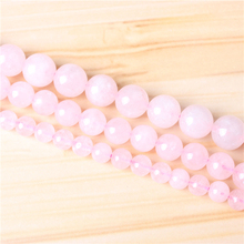 Pink crystal 4/6/8/10/12mm Natural Gem Stone Polished Smooth Round Beads For Jewelry Making DIY Bracelets