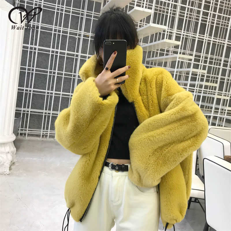 Winter Faux Fur Coat Women Faux Fur Jacket Zipper Fluffy Jacket Female Thick Warm Oversized Coat Winter Lapel Ladies Plush Coat