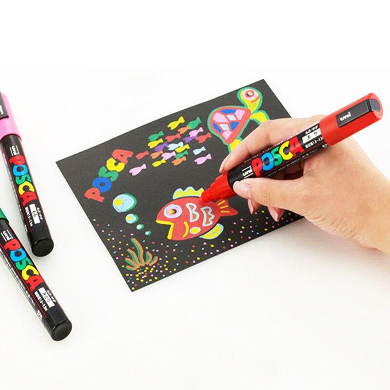 Image 5 - UNI POSCA marqueur stylo PC 1M PC 3M ensemble de PC 5M POP affiche publicité stylo peinture stylo bande dessinée peinture tête ronde Art de leau marqueurMarqueurs à dessin   -