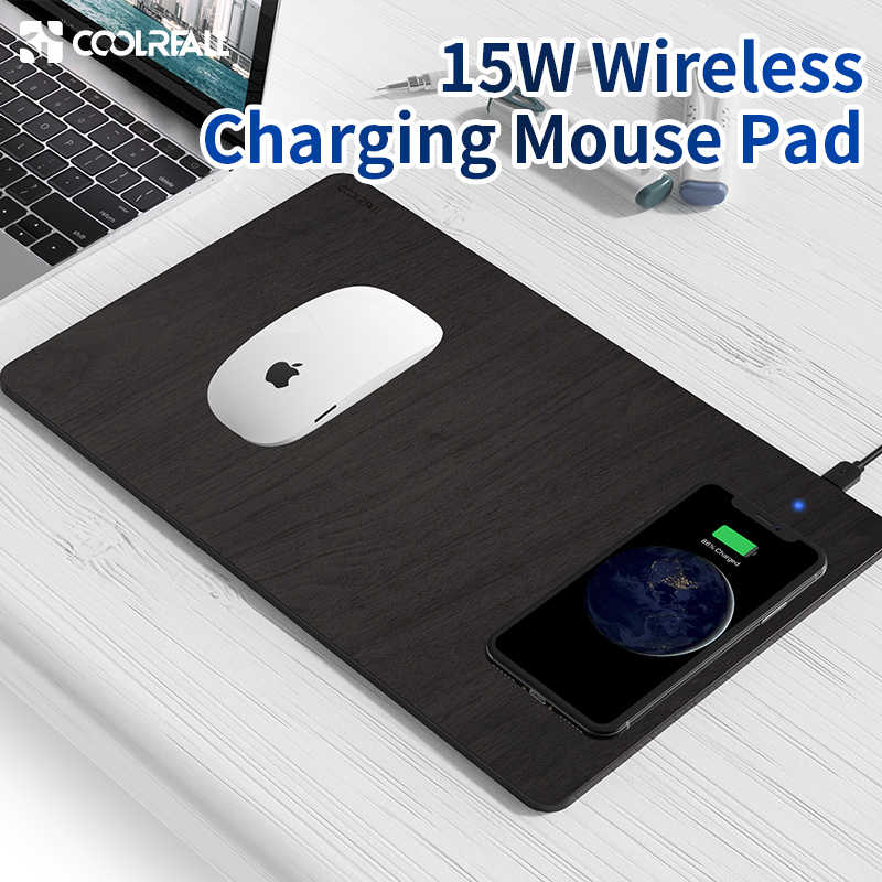 Coolreall Phone Wireless Charger Mouse Pad Fast Charging Mat PU Leather Computer Mousepad For iPhone 11 Pro X Samsung S10 Huawei