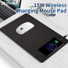 Coolreall mousepad sem fio com carregador, carregador de mouse sem fio em couro pu, para computador iphone 11 pro x samsung s10 huawei huawei