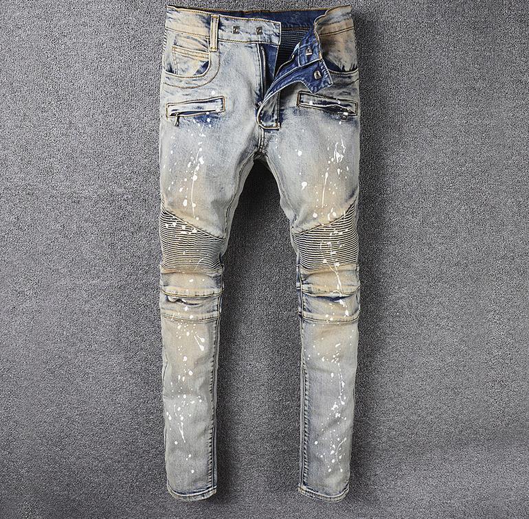 motorcycle biker Men's jeans pleated Painted vintage blue stretch denim Slim fit moto pants for men #990