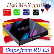 цена на H96 Max RK3318 Smart TV Box Android 9.0 Media player 2.4G/5G Wifi TB4.0 H96 Max 4G 64G 4K HDR Box support iptv xxx subscription