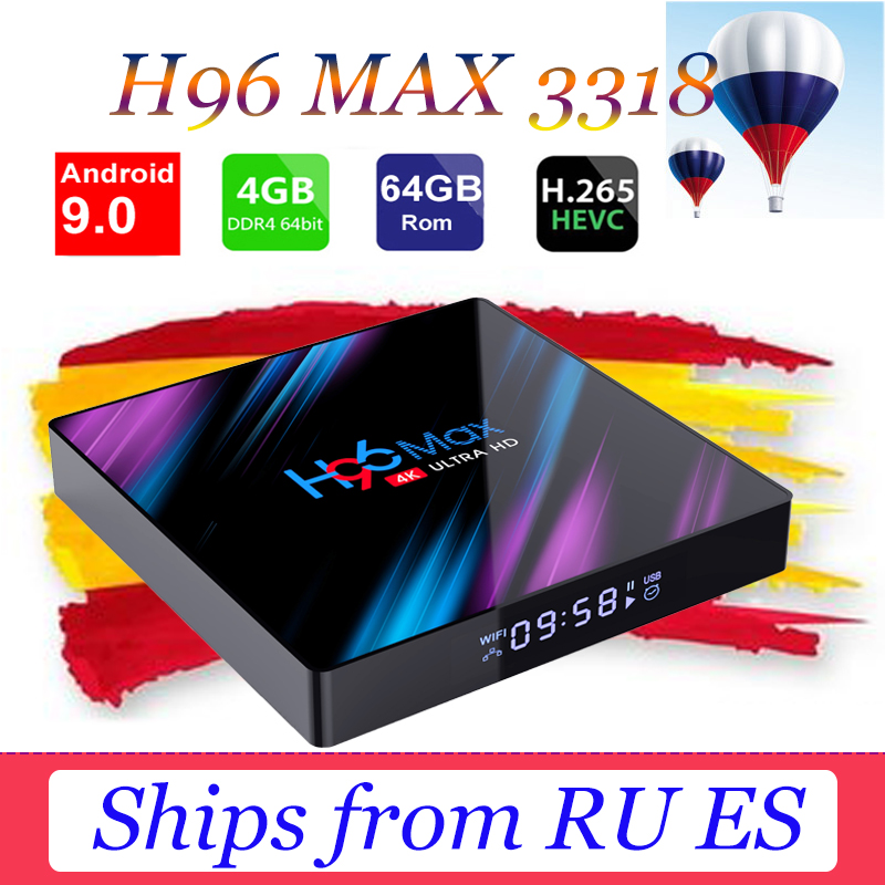 H96 Max RK3318 Smart TV Box Android 9.0 Media player 2.4G/5G Wifi TB4.0 H96 Max 4G 64G 4K HDR Box support iptv xxx subscription