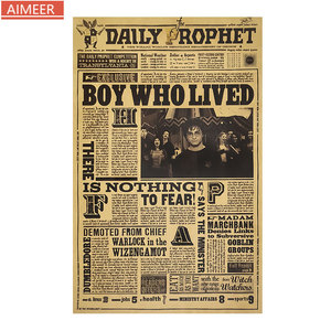 AIMEER Words Complex Retro Kraft Paper Poster Classic Movie English Letter Newspaper Bar Cafe Home Decor Painting Wall Sticker