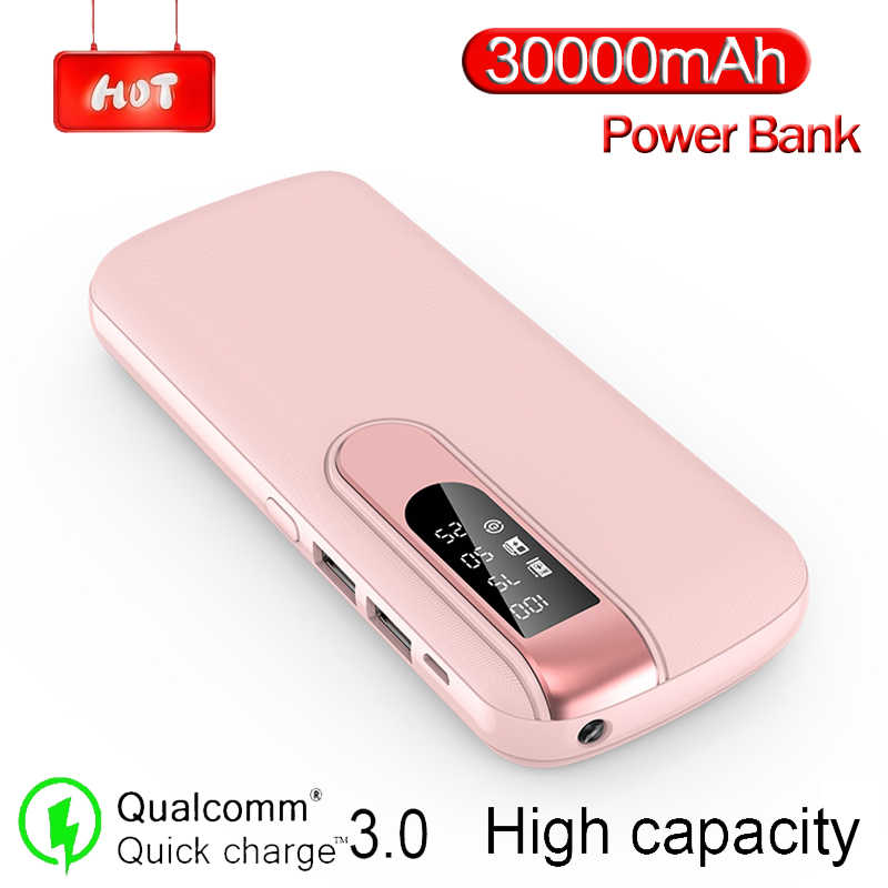 30000 mAh Power Bank Tragbare Telefon Ladegerät Große Kapazität Power Outdoor Reise LCD Digital Display LED Beleuchtung Poverbank