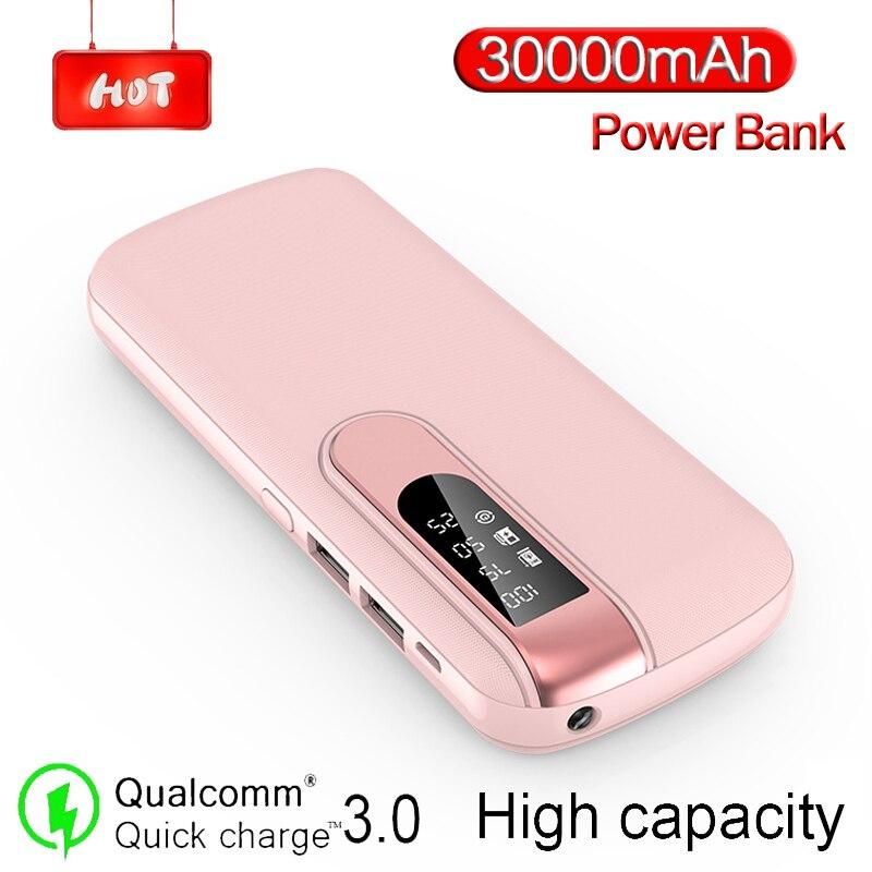 30000 MAh Power Bank Portable Phone Charger Large Capacity Powerbank Outdoor Travel LCD Digital Display LED Lighting Poverbank