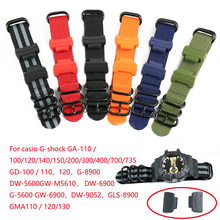 Watch Accessories Band for Casio g-shock GA100 400 DW5600 5610 series Watch Band Chain Nylon Watch Strap Belt 16mm connector()