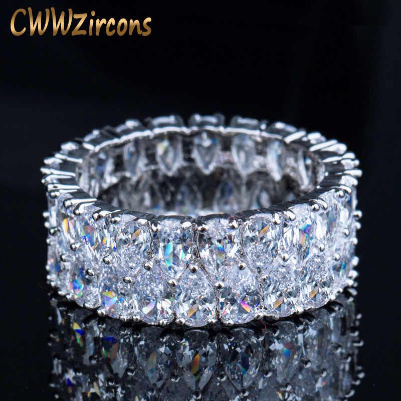 CWWZircons スーパースパークリングシルバーカラーのフルキュービックジルコニア舗装されたラウンド Cz ウェディング婚約女性のための R086