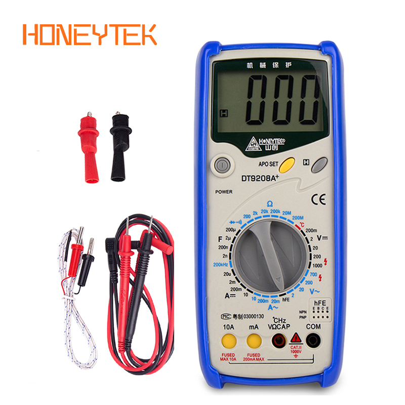 HONEYTEK Digital multimeter DT9208A AC <font><b>DC</b></font> LCD Display Electric Handheld Voltmeter Ammeter Ohm Capacitance Tester Digital Meter image