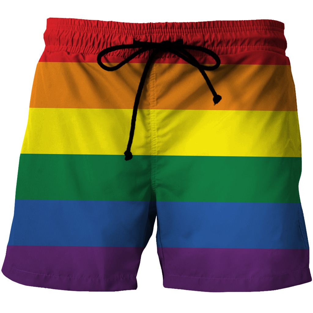 Men Quick-drying Shorts Leisure Style Loose Rainbow Printed Stripe Breathable Summer Pants Outdoor Surfing Comfortable Shorts