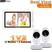 Dual View LCD display baby monitor kamera 720P HD wireless 7,0 Zoll IR Nacht vision Intercom Temperatur monitor Nanny kamera(China)