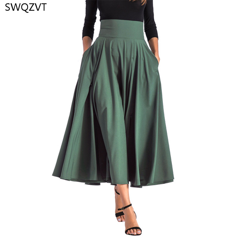2020 New Fashion Women Long Skirt Casual Spring Summer Skirt womens Elegant Solid Bow-knot A-line Maxi Skirt Women Cothes 1