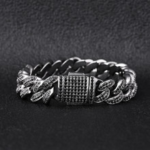 12mm Hip Hop Jewelry Black CZ Diamond Iced Out Cuban Bracelet 7inch 8inch 9 inch(China)