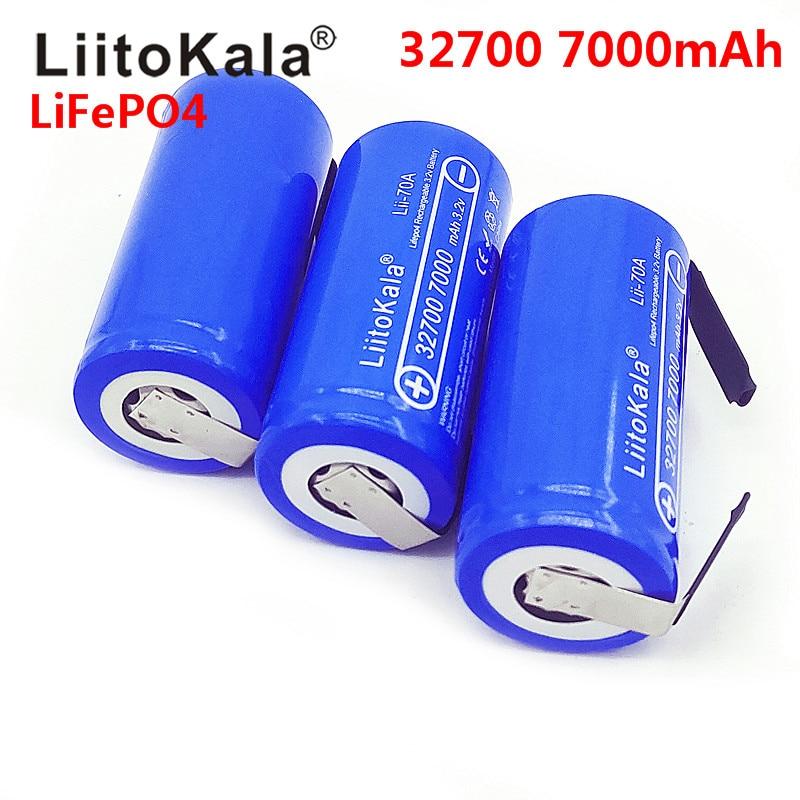 2019 LiitoKala 3.2V 32700 7000mAh 6500mAh LiFePO4 batterie 35A décharge continue Maximum 55A haute puissance batterie + Nickel feuilles