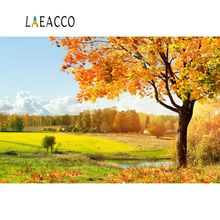 Laeacco Autumn Yellow Rural Filed Harvest Seasons Tree Scenic Photographic Backgrounds Photography Backdrops For Photo Studio