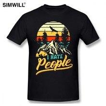 Camisa Da Forma T Odeio Pessoas Campista urbano Amantes T-Shirt O-pescoço de Algodão Tamanho Grande T-shirt de Mangas Curtas de Acampamento Caminhadas Tshirt