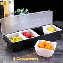 Кухня 5 отсек чехол для приправ бар приправ коробка держатель бар напитки фрукты гарнир украшения для коктейлей коробка Ktv коробка для фруктов
