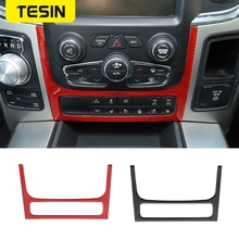 TESIN Carbon Fiber Car Central Console Adjustment Switch Decoration Frame Trim Sticker For Dodge Ram 1500 2010-2015 Accessories