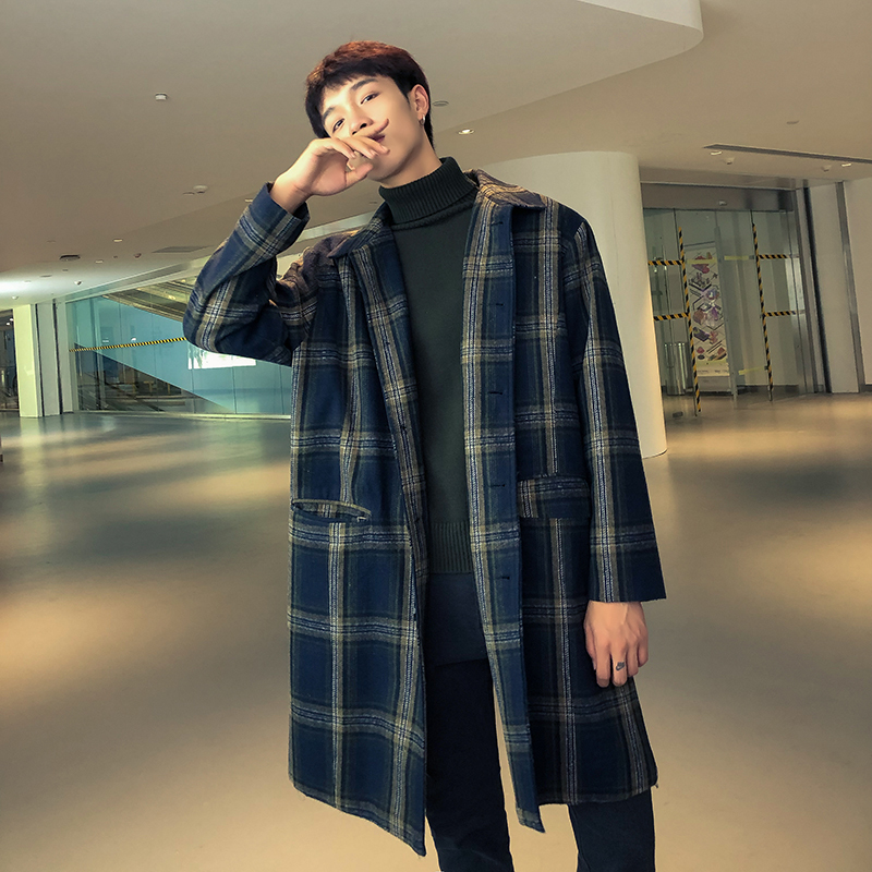 Boys  Windbreaker  Coat Men In The Long Section Of The Spring Trench Coat Japanese Retro Plaid Trend Wild Loose Mens Overcoat