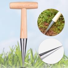 Деревянная ручка из нержавеющей стали, аксессуар для выращивания семян растений, Практичный Прочный дырокол, открытый, расслабляющий грунт, сев, Диббер, сад