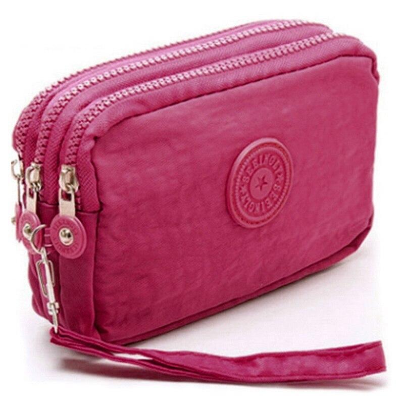 3 zíperes senhora bolsas mulheres marca embreagem moeda bolsa cartões chaves sacos de dinheiro lona curto mulher meninas carteira bolsas burse