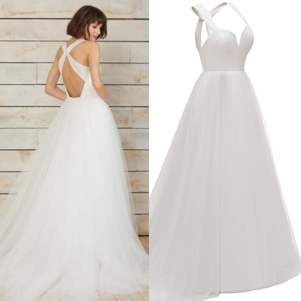 Simple Satin Bridal Gown X Cross Back  Special Design Wedding Dress For Bride Factory Price Real Photo