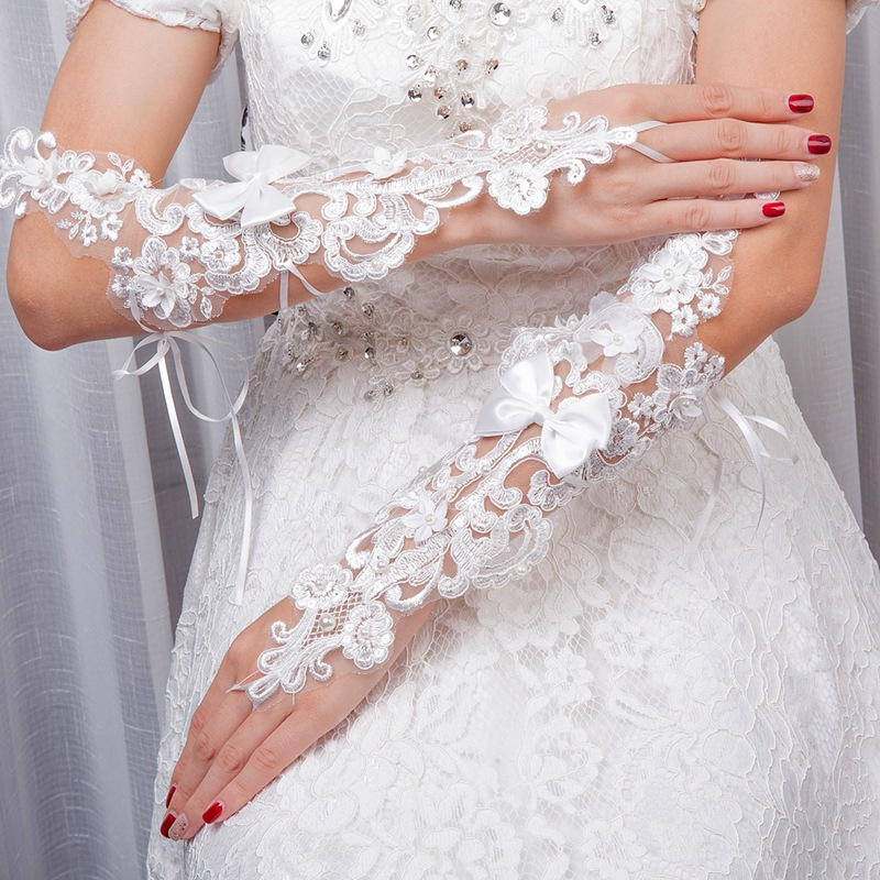 1PCS  New Summer Thin Wedding Dress Accessories Bridal Wedding Long Fingerless Gloves Hook Refers To The Tie Bow