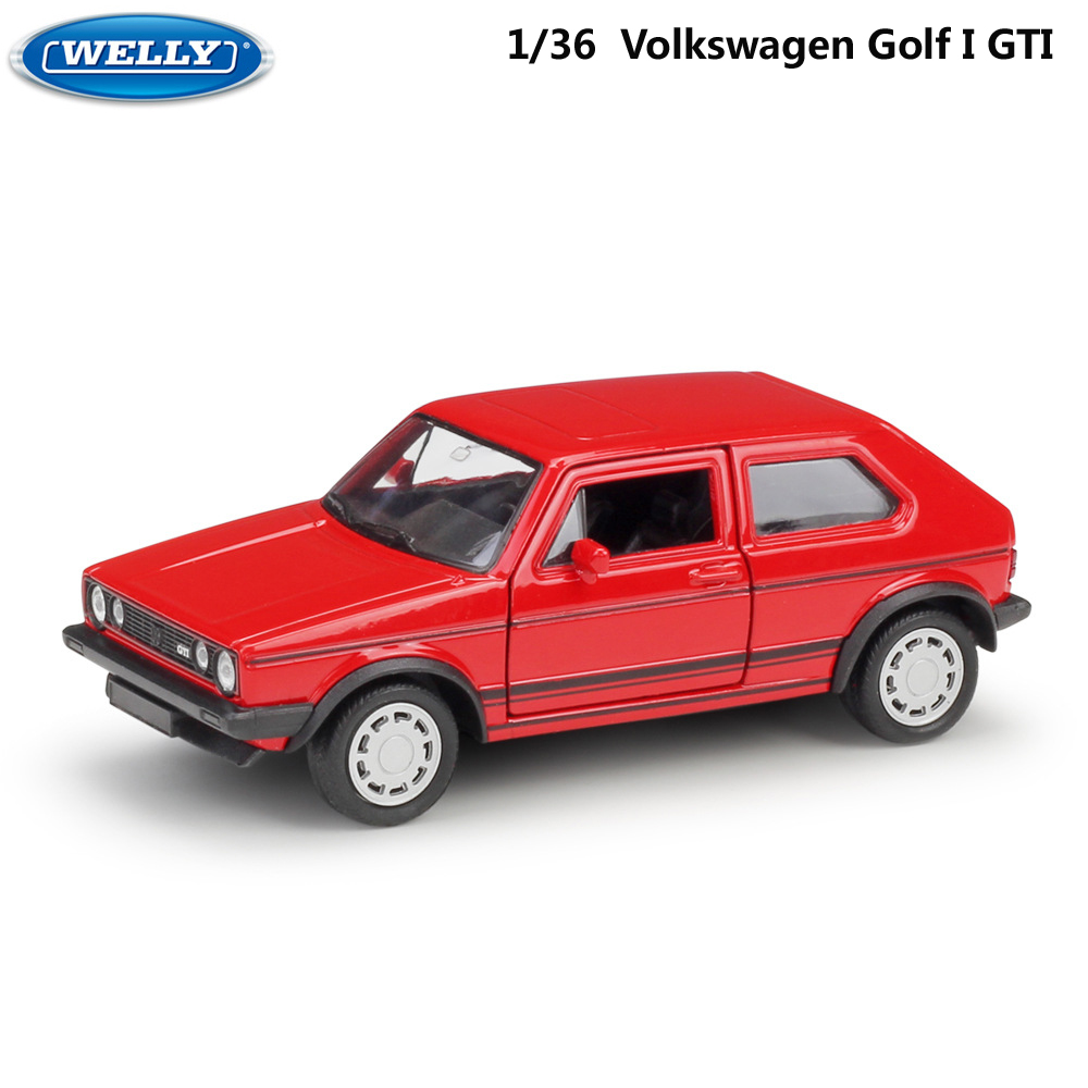 WELLY Diecast 1:36 Scale VW Golf I GTI Similator Toy Vehicle Model Car Pull Back Alloy Metal Toy Car For Kids Gifts Collection