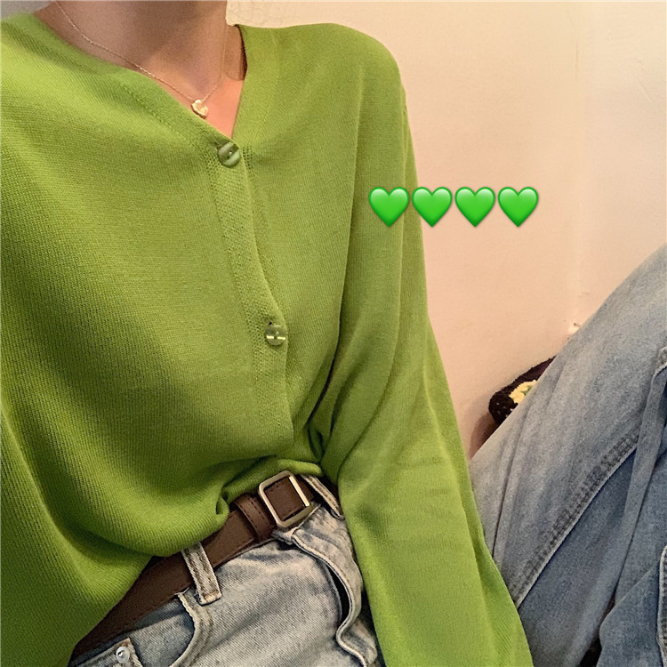 2019 New Women Fashion Cardigans Knit Sweaters Green Sweaters