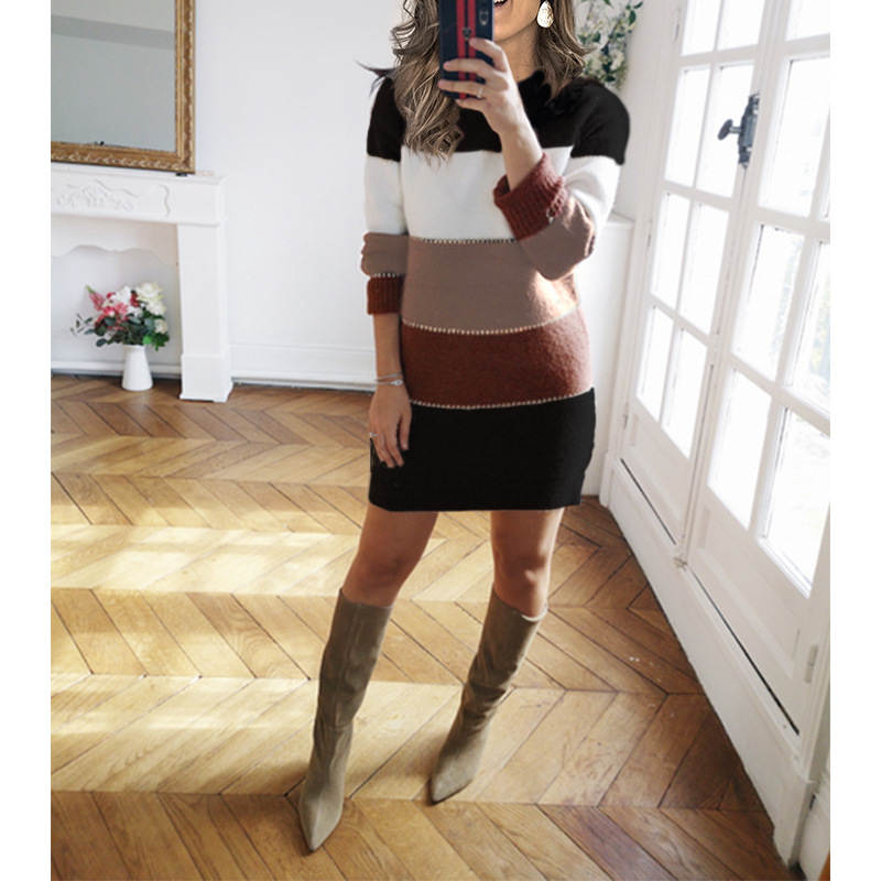Sweater-Dress Skirt Stitching Round-Neck Knitted Contrast-Color Winter Casual Women's