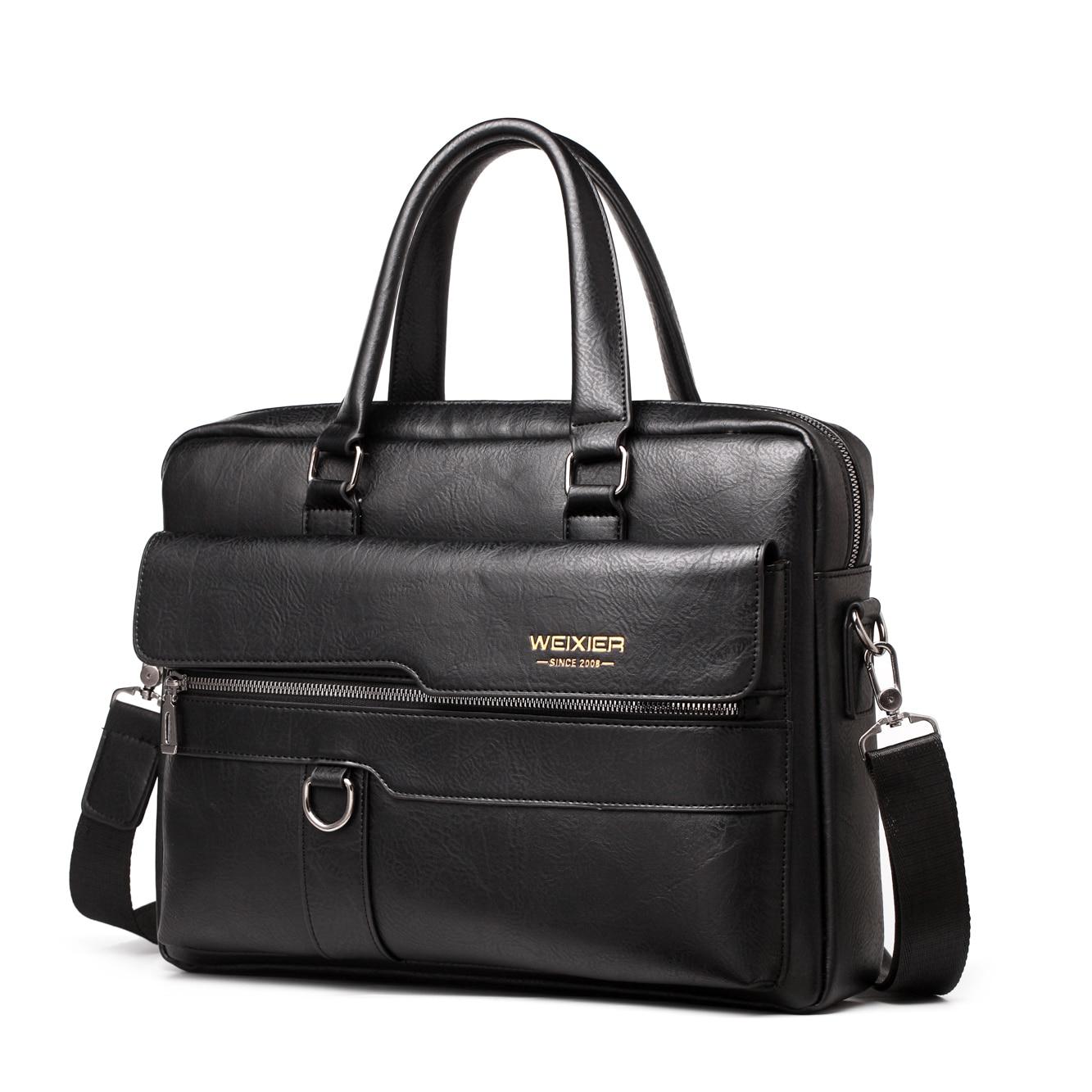 Business Shoulder Bag Men Messenger Bag Brand WEIXIER Vintage PU Leather Crossbody Bag For Male Fashion Casual Man Handbags
