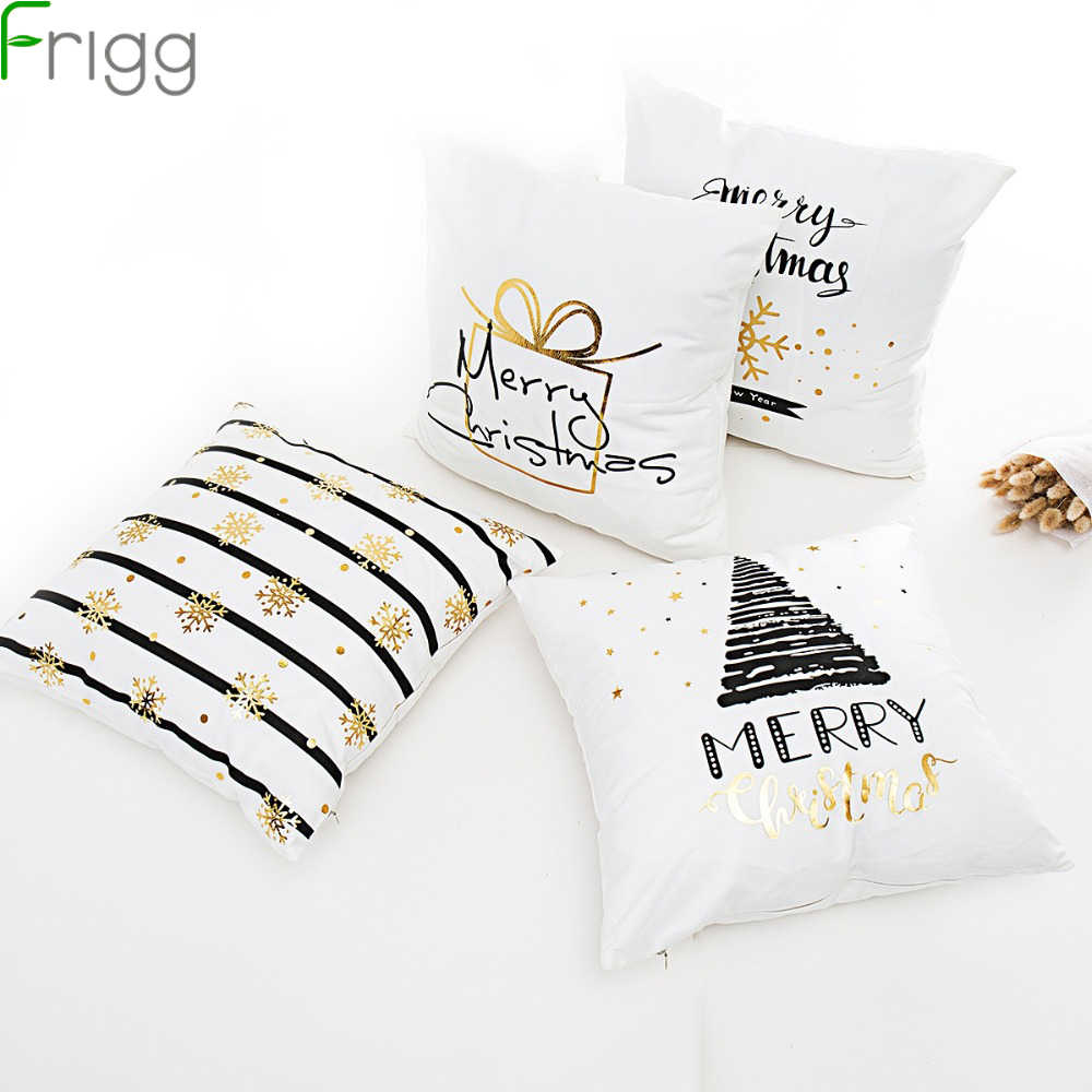 Frigg Merry Christmas Cushion Cover Gold Linen Cotton Soft Cute Cushion Covers Santa Xmas Decorative Sofa Pillow Case Pillowcase