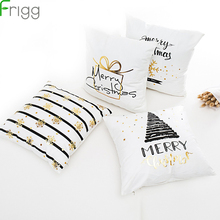 Frigg Merry Christmas Cushion Cover Gold Linen Cotton Soft Cute Covers Santa Xmas Decorative Sofa Pillow Case Pillowcase
