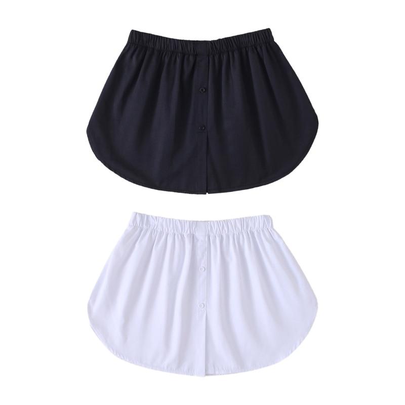 Women Decorative Skirt Solid Color A-Line False Fake Hem Button Solid Color Elastic Waist Layered Detachable Apron 1