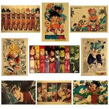 Dibujos Animados Dragon Ball Anime Vintage cartel para habitación de niños decoración pintura arte de pared Kraft colección de papel carteles pegatinas de pared