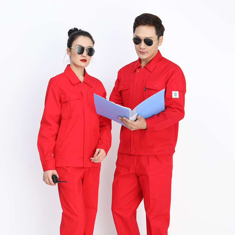 Autumn Red Cotton Canvas Anti-static Long-sleeve Suit Gas Station Sinopec Clothing Long Sleeve Labor Suit