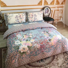 High Quality Europe Royal Palace Big Flowers Pattern New Design 2019 100% Cotton Wedding King Queen Size 4pcs Blue Bedding Sets