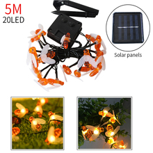 5M20LED New Solar Powered Cute Bee Led Fench String Fairy Light Bee Shape Outdoor Garden Fence Patio Christmas Garland Light