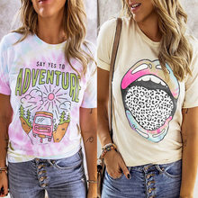 Summer Women Round Neck Short Sleeve Casual Printed Pullover Funny Oversize Fashion Shirt Top Plus Size Female T Shirt Clothes