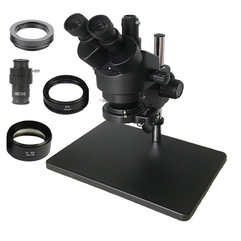 Rússia Frete grátis 7-45X 3.5X-90X Trinocular Microscópio Estéreo Zoom Grande suporte de mesa com 0.5X 2.0X Lente Objetiva Auxiliar
