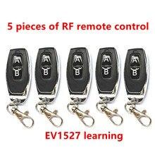 Mando a distancia de Radio frecuencia 433 Mhz, código de aprendizaje 1527 EV1527 para puerta, garaje, controlador de alarma, 433 mhz, 5 piezas