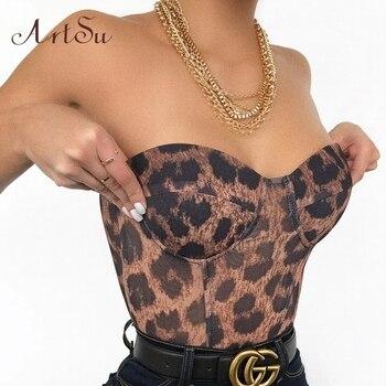 Artsu Leopard Print Sexy Strapless Crop Top Party Club Women Tops Off Shoulder Zipper Bustier Tube New Summer