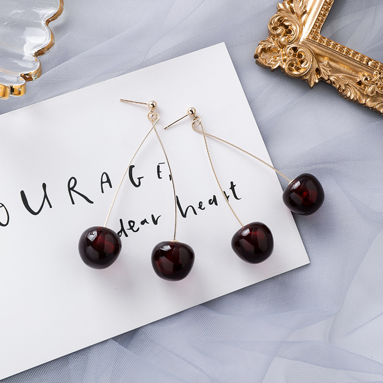 H1986eb17e13544f587e5a4d3b9a7be7cv - AOMU S925 Sterling Silver Pin Autumn Winter New Wine Red Cherry Cute Fruit Long Drop Earrings For Women Vintage Pendientes Gifts