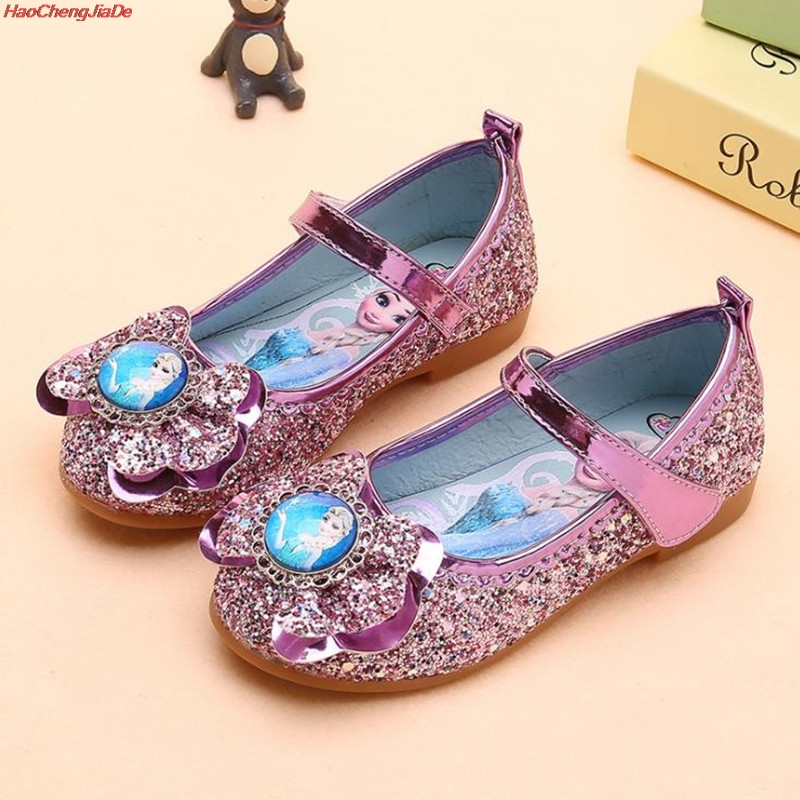 Kids Princess Crystal Shoes Girls Casual Shoes Butterfly Children Shoes Girls Bowtie Elsa Party Dance Fasshion Shoes 26-36