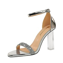 Letnie buty na wysokim obcasie przezroczyste cekiny wody wiertła kostki pasek Plus Size kobiety sandały tanie tanio Heileely Lakierowana skóra CN (pochodzenie) Super Wysokiej (8cm-up) Na co dzień Pasek na kostkę Adult