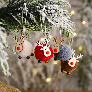 Cute Felt Wooden Elk Christmas Tree Decorations Hanging Pendant Deer Craft Ornament Christmas Decorations for Home New Year 2021