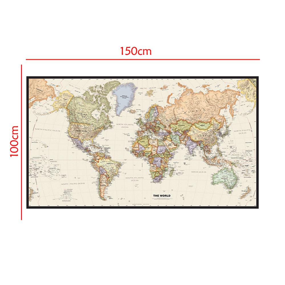World Map Mercator Projection Detailed Map Of Major Cities In Each Country 150x100cm Non-woven Map Without Flag