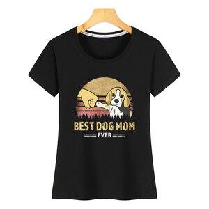 Topy T Shirt kobiety najlepszy pies mama kiedykolwiek beagle retro prezent Hip Hop Vintage krótka koszulka damska
