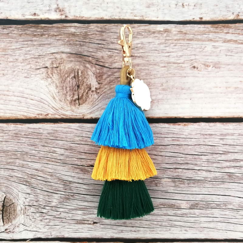 ZWPON Monogram Blank Key Chain Enamel Clover 3 Layered Tassel Keychain Personalized Key Chain Bag Accessories Wholesale